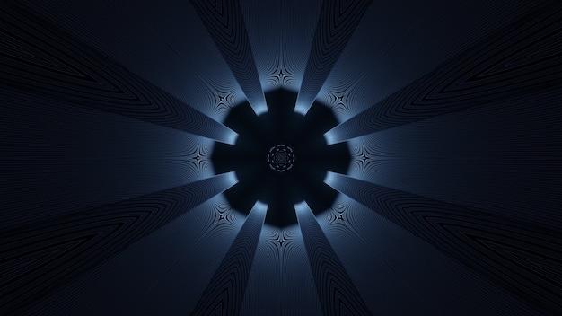 3d illustration des abstrakten hintergrunds des geometrischen dunklen tunnels mit licht und strahlen