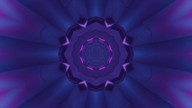3d illustration des abstrakten hintergrunds des purpurroten runden geformten korridors