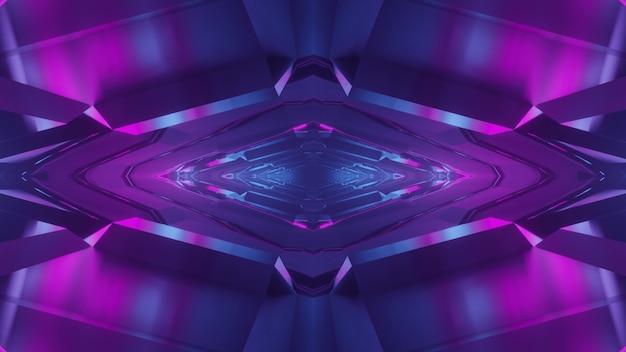 3d illustration des abstrakten hintergrunds des rhombusförmigen endlosen sci-fi-tunnels, der glüht