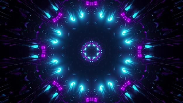 3d illustration des abstrakten hintergrunds des sci-fi-tunnels in form eines kreises mit hellen blauen und lila neonlichtern
