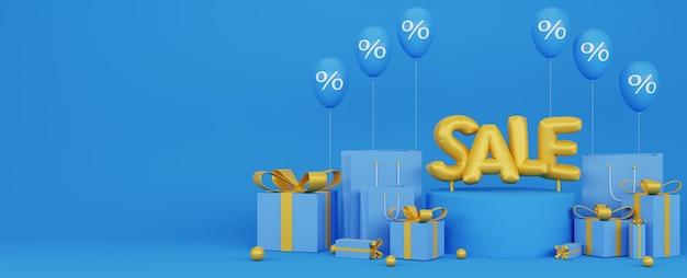 3d illustration des blauen fahnen der förderung mit goldenen ballons und prozentualem ballon mit blauem hintergrund