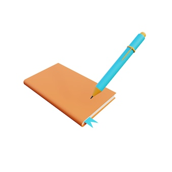 3d illustration des buches mit stift