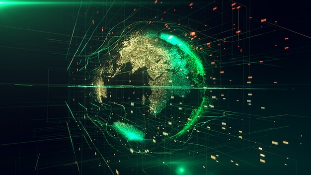 3d-illustration des detaillierten virtuellen planeten erde. technologische digitale globuswelt