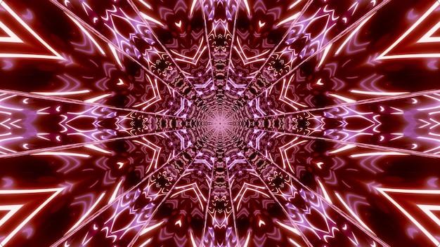 3d illustration des geometrischen abstrakten hintergrunds des roten korridors, der mit neonbeleuchtung glüht