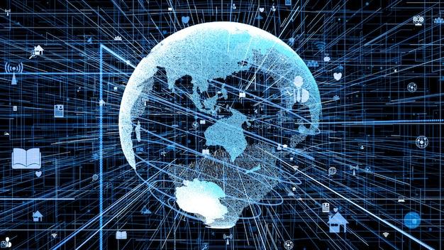 3d-illustration des globalen online-internet-netzwerkkonzepts