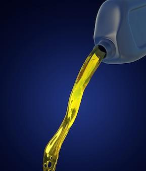 3d illustration des motoröls, das vom kanister fließt