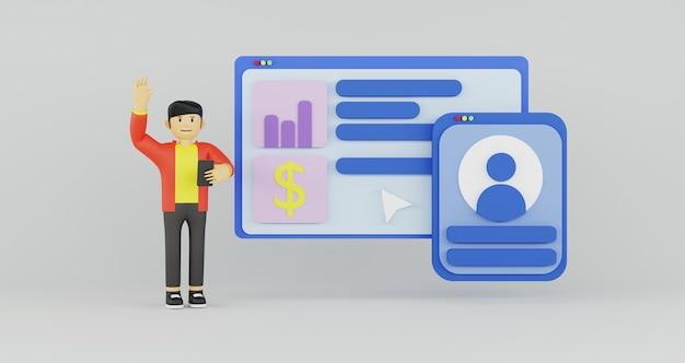 3d-illustration des netzes mit 3d-popup