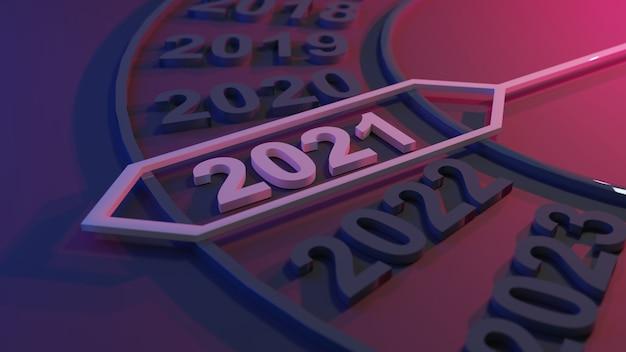 3d illustration des neuen jahres 2021