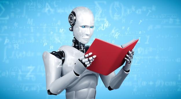 3d-illustration des roboter-humanoiden lesebuchs und des lösens der mathematik