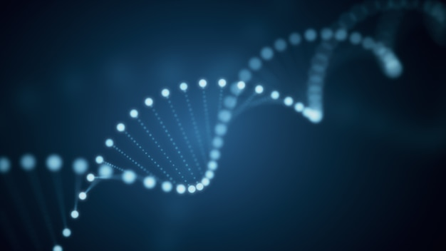 3d illustration des rotierenden dna-leuchtenden moleküls auf blauem hintergrund
