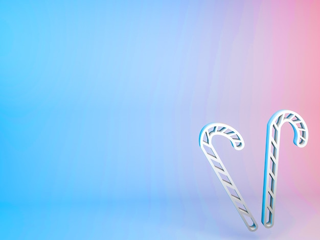 3d-illustration des weihnachtsstabsymbols auf einem gradientenhintergrund