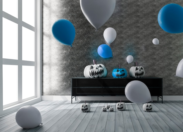 3d-illustration des wohnzimmers mit halloween-dekoration und luftballons