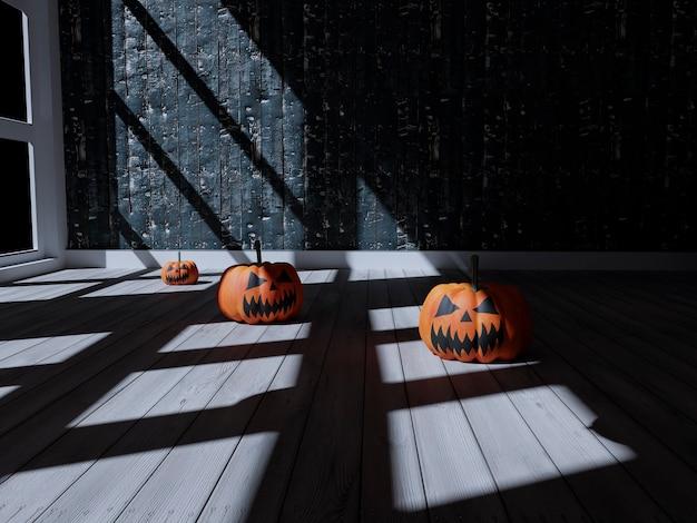 3d-illustration des wohnzimmers mit halloween-dekoration