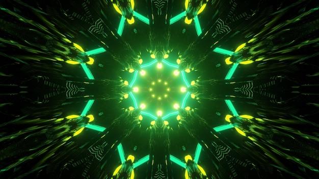 3d illustration, die durch runden geformten dunklen tunnel mit spuren von glänzenden grünen neonlichtern bewegt, die helle geometrische verzierung für abstrakten futuristischen hintergrund bilden