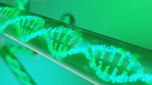 3d illustration dna-molekül, seine struktur. konzept menschliches genom