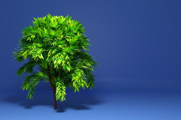 3d-illustration ein großer grüner laubbaum mit einem schatten