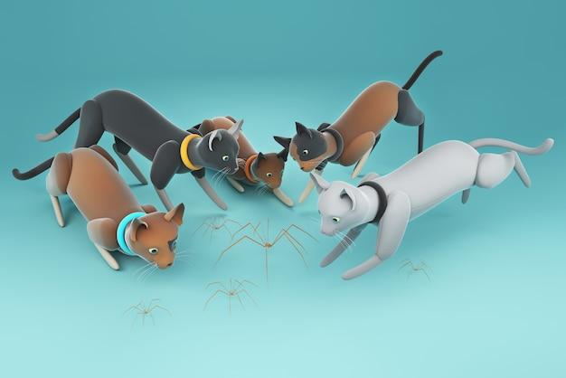 3d illustration eine gruppe von katzen, die auf spinnen starren