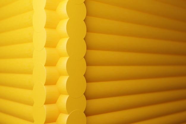 3d-illustration eine nahaufnahme einer ecke eines gelben holzhauses mit runden protokollen