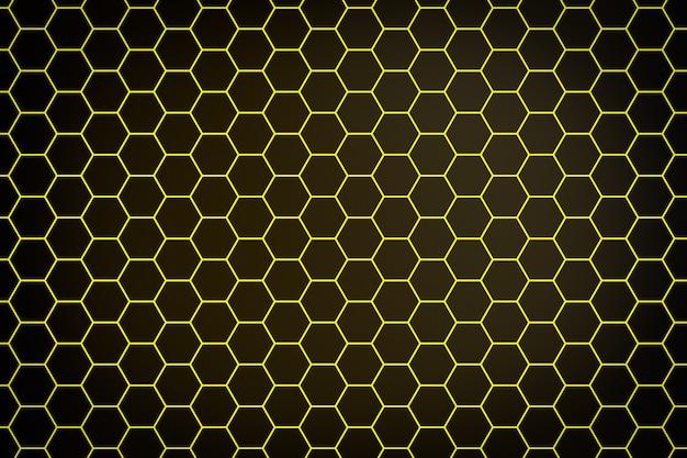 3d illustration einer gelben wabe monochrome wabe für honig. muster der einfachen geometrischen sechseckigen formen, mosaikhintergrund. bienenwabenkonzept