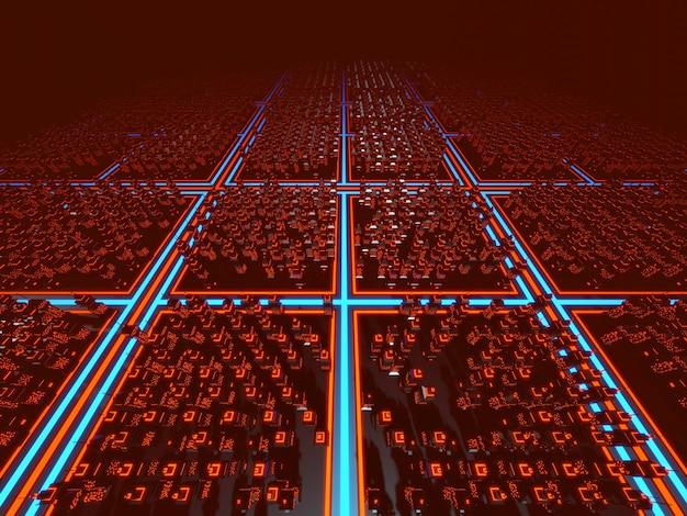3d-illustration einer klassischen computerspielstadt im stil der 80er jahre.