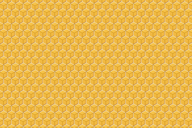 3d illustration einer monochromen wabe der gelben und weißen wabe für honig.