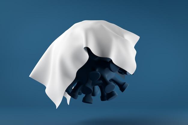 3d-illustration einer nahaufnahme des covid 2019-virus, die unter einem weißen tuch versteckt ist