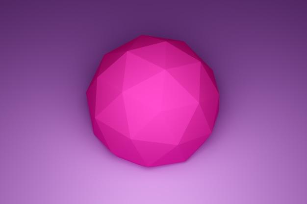 3d illustration einer rosa form, bestehend aus einer großen anzahl von polygonen. futuristischer origami. kybernetische kreisform zur verwendung in wissenschaft und technologie.