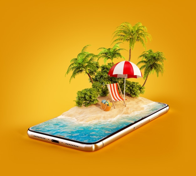 3d illustration einer tropischen insel mit palmen, liegestuhl und regenschirm auf einem smartphonebildschirm