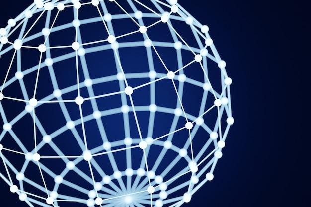 3d illustration einer weißen kugel, bestehend aus einer großen anzahl von polygonen