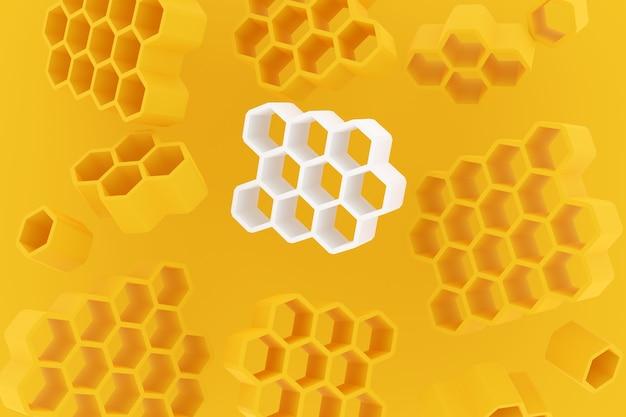 3d-illustration einer weißen waben-monochromen wabe für honig.