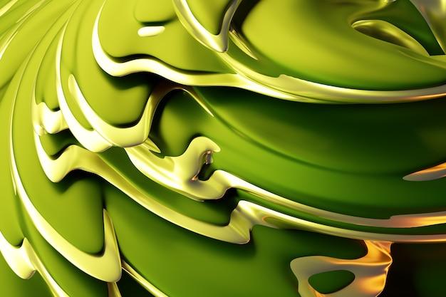 3d-illustration eines abstrakten grüns mit goldhintergrund mit schimmernden kreisen und glitzer.