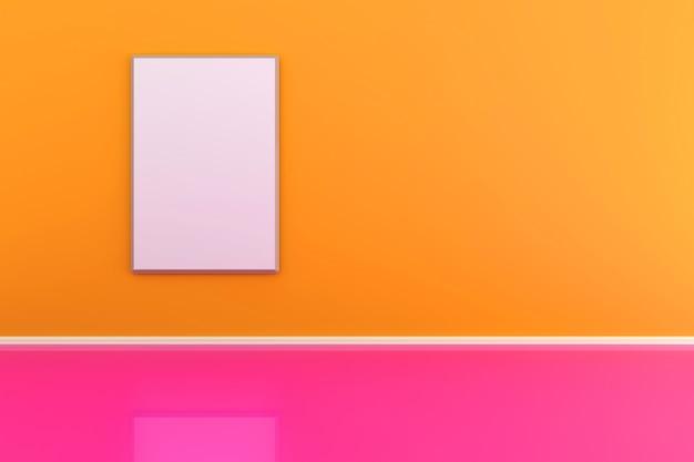 3d illustration eines bilderrahmens an der wand in einem orange raum.