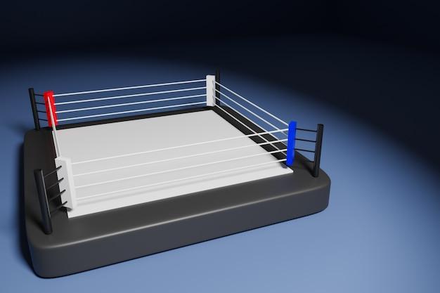 3d illustration eines boxrings für das kämpfen auf einem schwarzen hintergrund