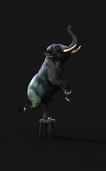 3d illustration eines elefanten stehend ein bein auf einem kleinen hocker lokalisiert auf dunklem hintergrund mit beschneidungspfad.