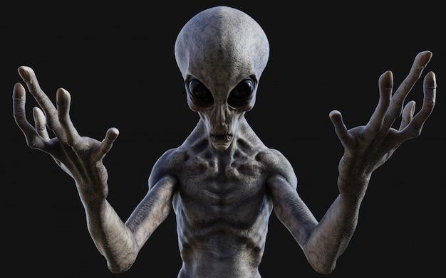 3d illustration eines grauen aliens auf dunklem hintergrund mit beschneidungspfad.