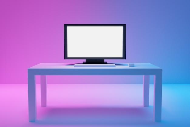 3d illustration eines großen flachen fernsehers steht auf einem weißen couchtisch auf einem blau-rosa hintergrund.
