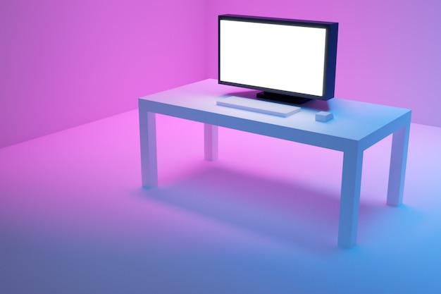 3d illustration eines großen flachen fernsehers steht auf einem weißen tisch auf einem blau-rosa hintergrund.