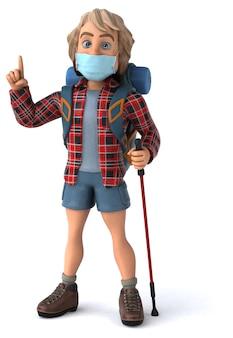 3d-illustration eines karikatur-rucksacktouristen mit einer maske