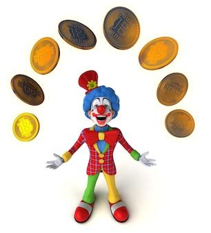 3d-illustration eines lustigen clowns mit bitcoins
