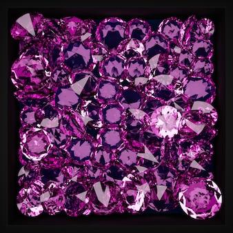 3d-illustration eines musters vieler transparenter diamanten, die in der luft unter neonpinkem licht auf einem monogromen hintergrund hängen. diamant im großen schliff