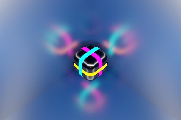 3d-illustration eines neonwürfels mit verschiedenen bunten streifen, die in einem dunklen raum leuchten.