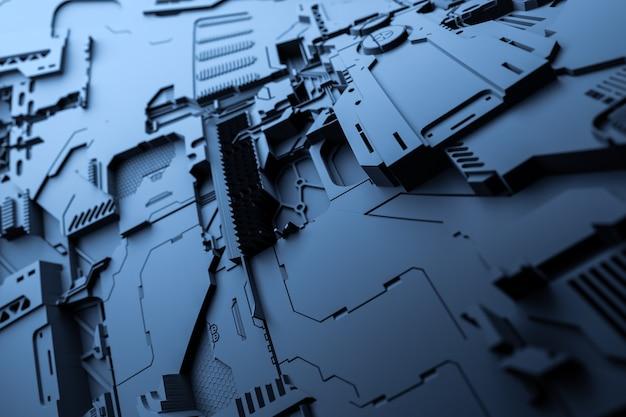 3d-illustration eines realistischen modells eines roboters oder einer blauen cyber-rüstung. nahaufnahmegeräte für den abbau von krypto-bitcoin; äther. grafikkarten; motherboards