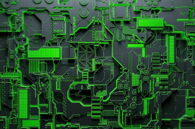 3d-illustration eines realistischen modells eines roboters oder einer grünen cyber-rüstung. nahaufnahmegeräte für den abbau von krypto-bitcoin; äther. grafikkarten; motherboards