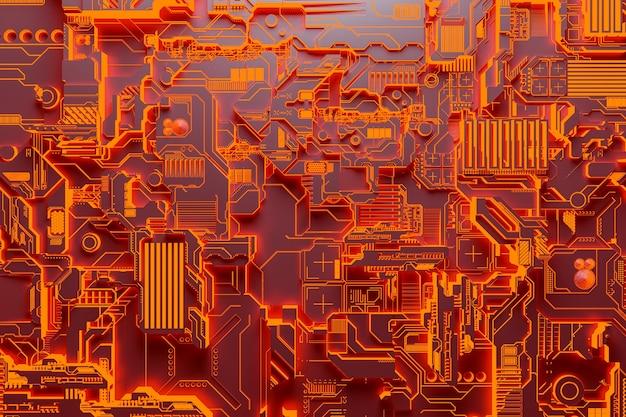 3d-illustration eines realistischen modells eines roboters oder einer orangefarbenen cyberrüstung. nahaufnahmegeräte für den abbau von krypto-bitcoin; äther. grafikkarten; motherboards