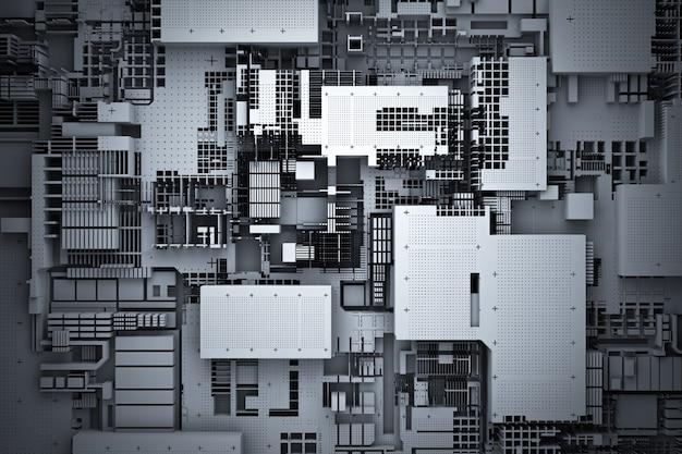 3d-illustration eines realistischen modells eines roboters oder einer schwarzen cyber-rüstung. nahaufnahmegeräte für den abbau von krypto-bitcoin; äther. grafikkarten; motherboards
