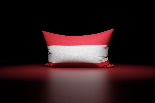 3d-illustration eines rechteckigen kissens, das die nationalflagge von österreich darstellt