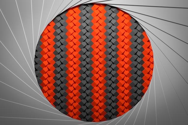 3d-illustration eines roten und schwarzen portals mit einer geometrischen verzierung innerhalb.