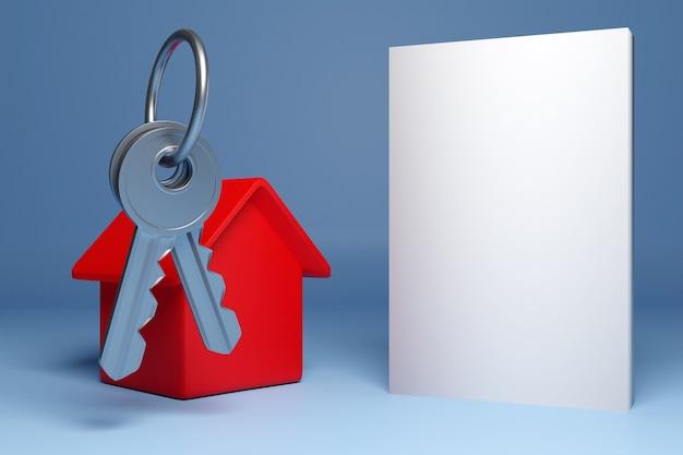 3d-illustration eines schlüsselbunds, eines roten neuen hauses - eines neuen gebäudes und neben einem leeren feld für werbetext. konzept und symbol des umzugs und des kaufs eines neuen hauses