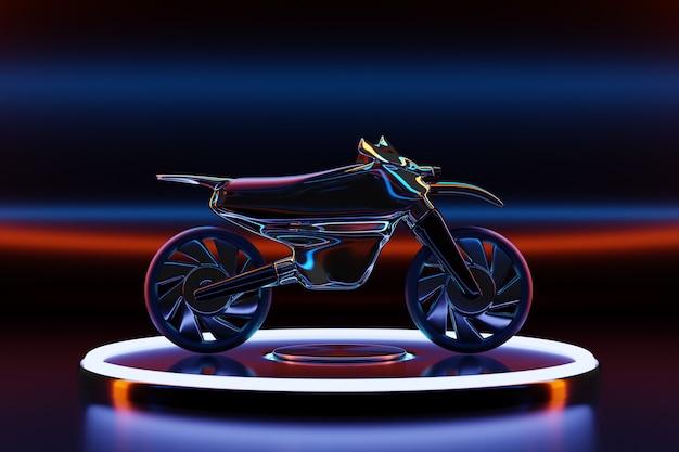 3d illustration eines schwarzen motorrades auf podium in einem leuchtenden neonraum.