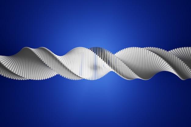 3d-illustration eines stereostreifens verschiedener farben. vereinfachte weiße dna-linie